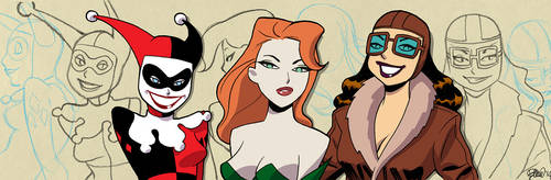 Gotham Girls banner for Blastoff Comics by elena-casagrande