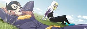 Batgirl and SpiderGwen for Blastoff Comics by elena-casagrande