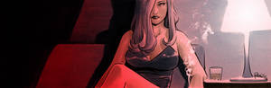 Pulp crime noir comics banner for Blastoff Comics