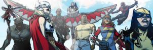 Marvel Heroes banner for Blastoff Comics by elena-casagrande