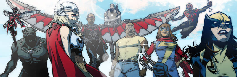 Marvel Heroes banner for Blastoff Comics by elena-casagrande