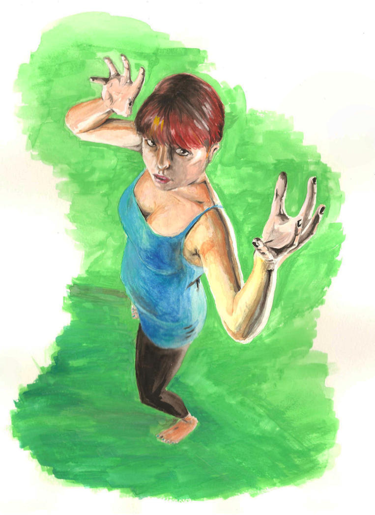 Watercolor/Foreshortening Practice by KennethFontanoArt