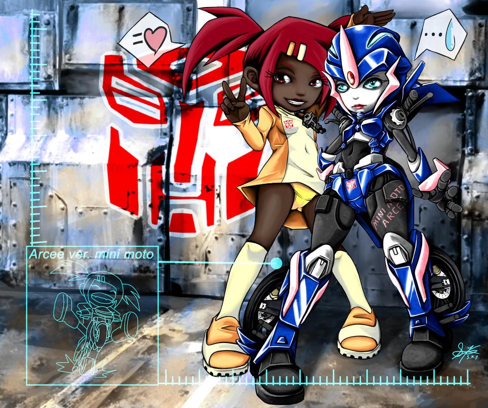 TF Prime Animated Arcee minimoto Sari Sumdac by skyshek