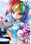MLP Rainbow Human Waiter and Rarity icecream