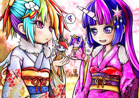 MLP Rainbow Dash and Twilight Human Hinamatsuri by skyshek