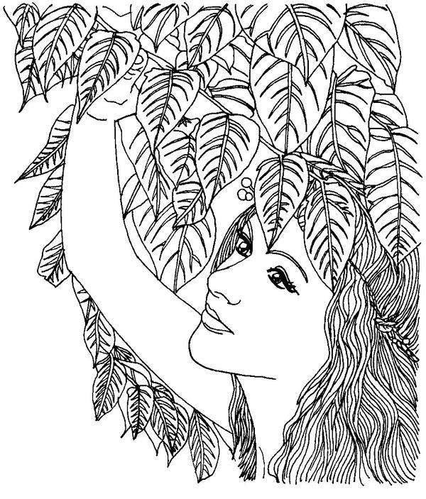 Line Art Woman : Leaf woman lineart by ka kind on deviantart