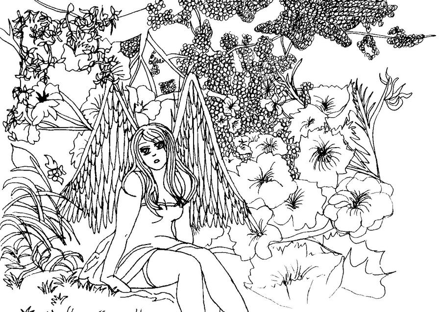 Flower Garden Drawing angel in the flower gardenka-kind on deviantart