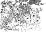 Angel in the flower garden