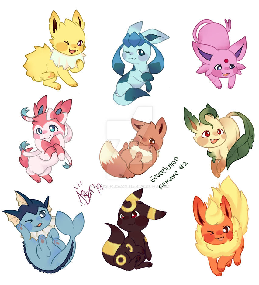 Eeveelutions by Astral-Dragoness