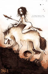 Wolf rider by Pokoa