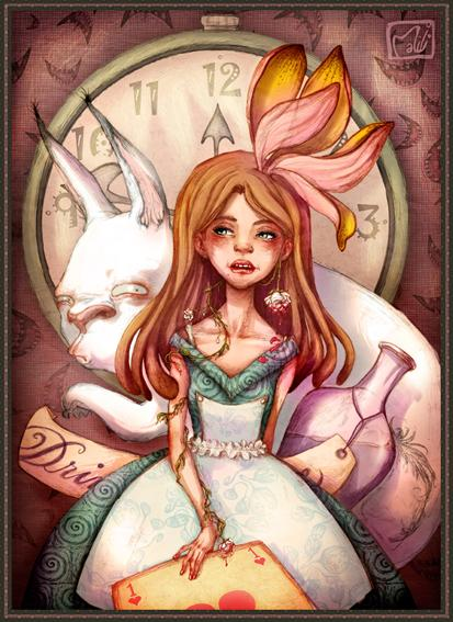 Alice Wonderland_illustration by la-maiii