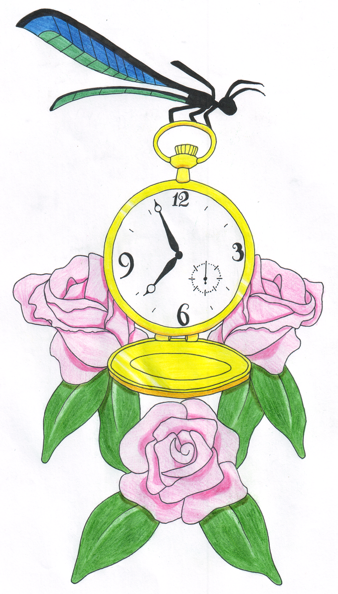 Pocket Watch Dragonfly Tattoo Design by themsgothgirl