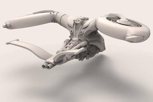 Sci-fi Vehicle Clay Render #2