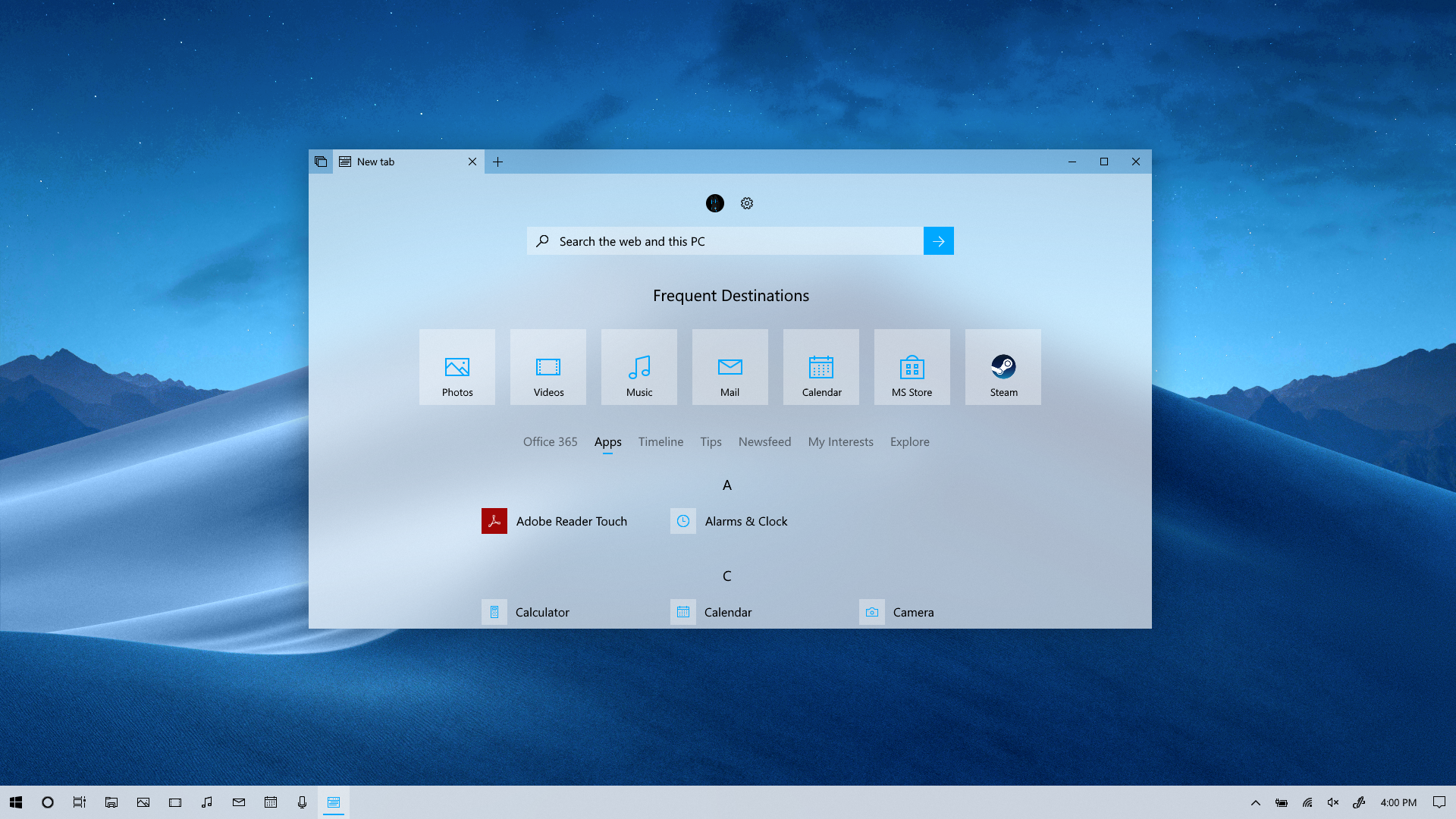 Fluent Design Concept - New Tab Sets and Edge (Lig by