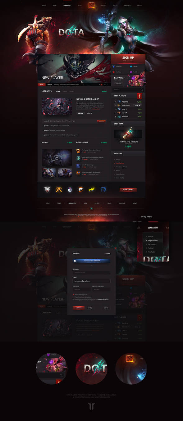 Dota 2 Team Portal Website Template
