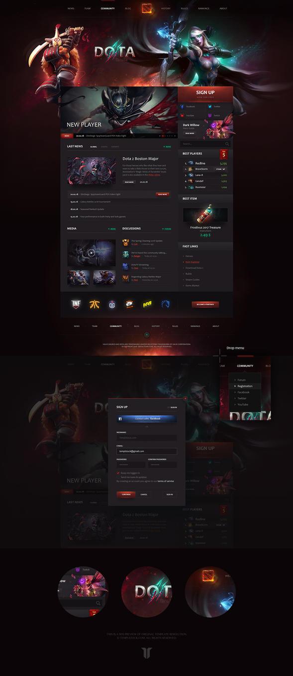 Dota 2 Team Portal Website Template by DKartsStudio