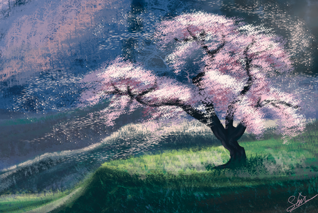 Cherry Blossom Landscape By Sapphire Sonnet