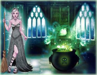 207. Halloween joys - White magic witch by Erozja