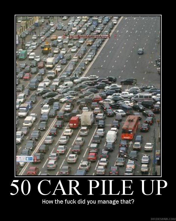 50 Car Pile Up by shadowrider-07