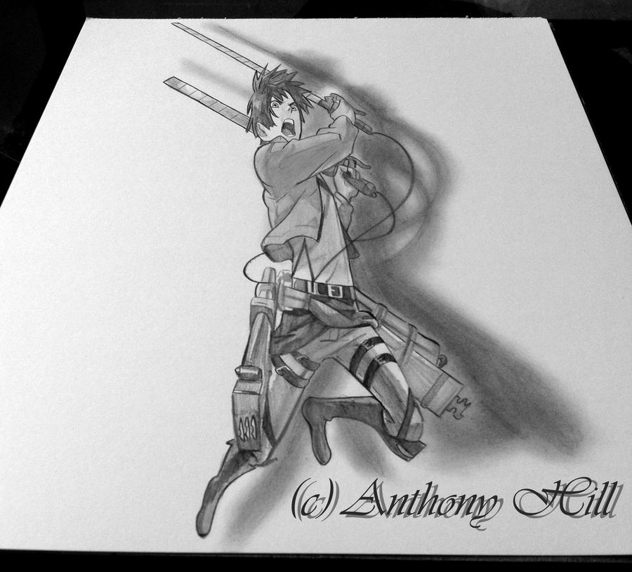 Eren jaeger 3d drawing by wanted75