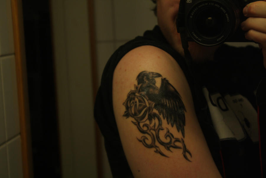 Stormraven's raven tattoo, work by Woodys tattoo studio in High Wycombe,