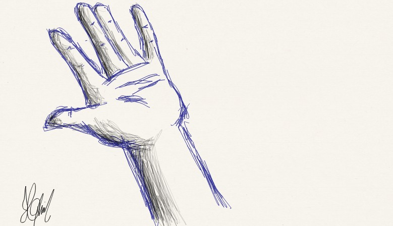 open hand sketch by Aruera-kun