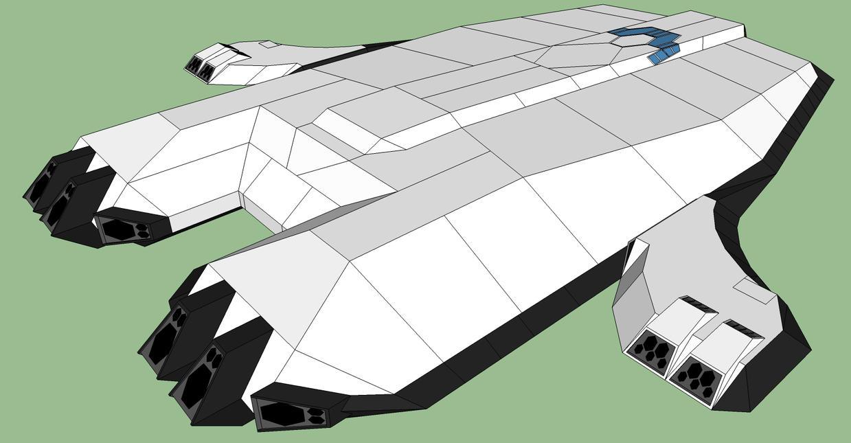 Silenvo Rimworld Starship - ISO Back View by Ryuseimaru