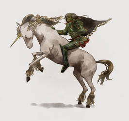 Green Knight Riding Unicorn Colour