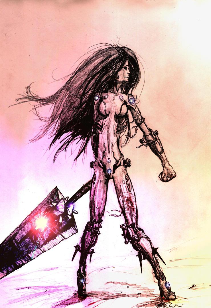cyborg warrior sketch by FIGHTINGPEGASUS on DeviantArt