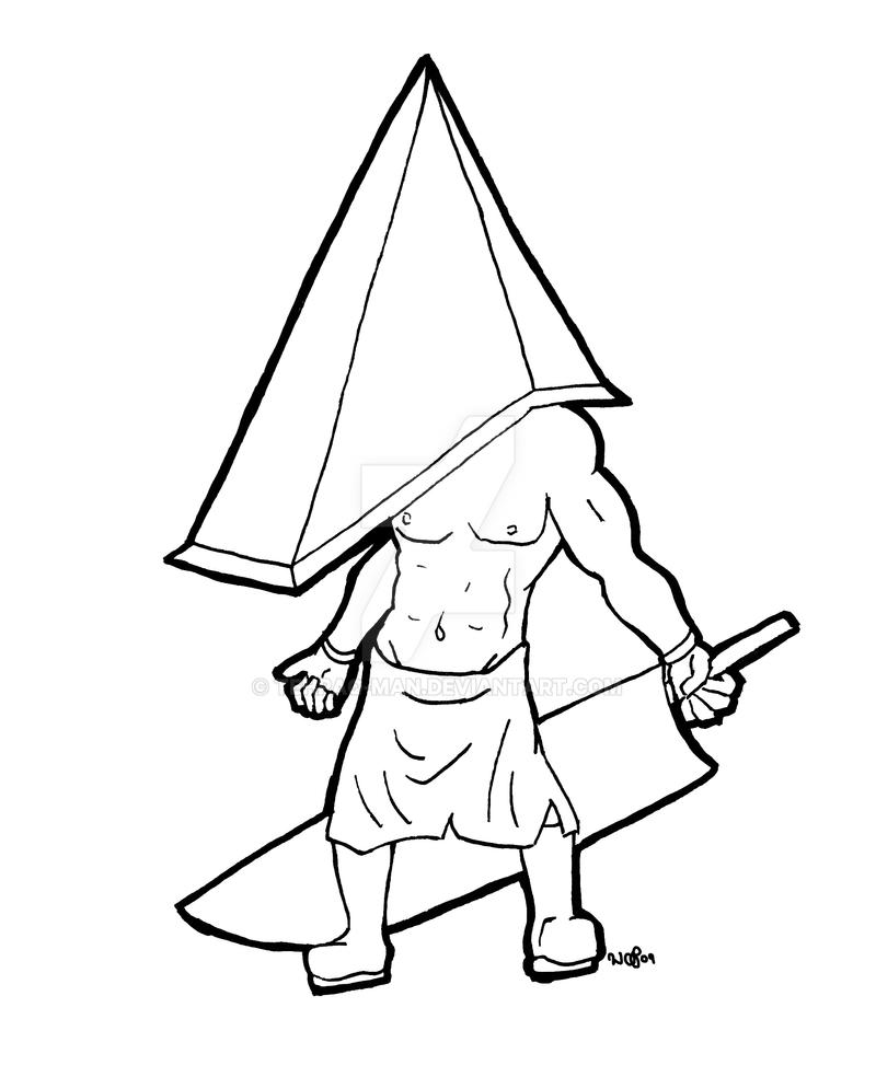 pyramid head chibi lines by tehpaq man on deviantart