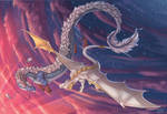 Dragons on the pink sky