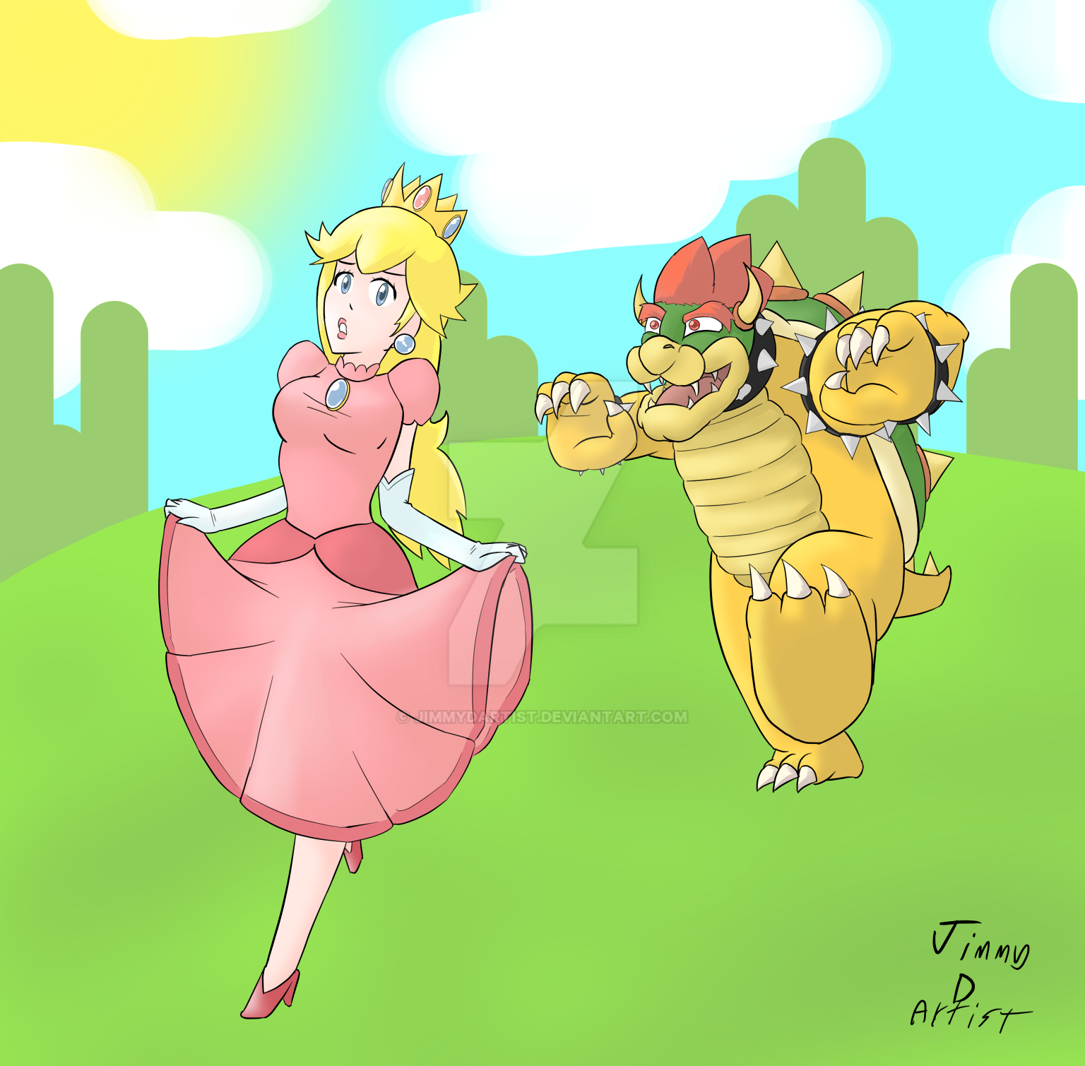 Peach and Bowser by JimmyDArtist on DeviantArt