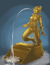Gold Fountain commission by Elixia-Dragmire