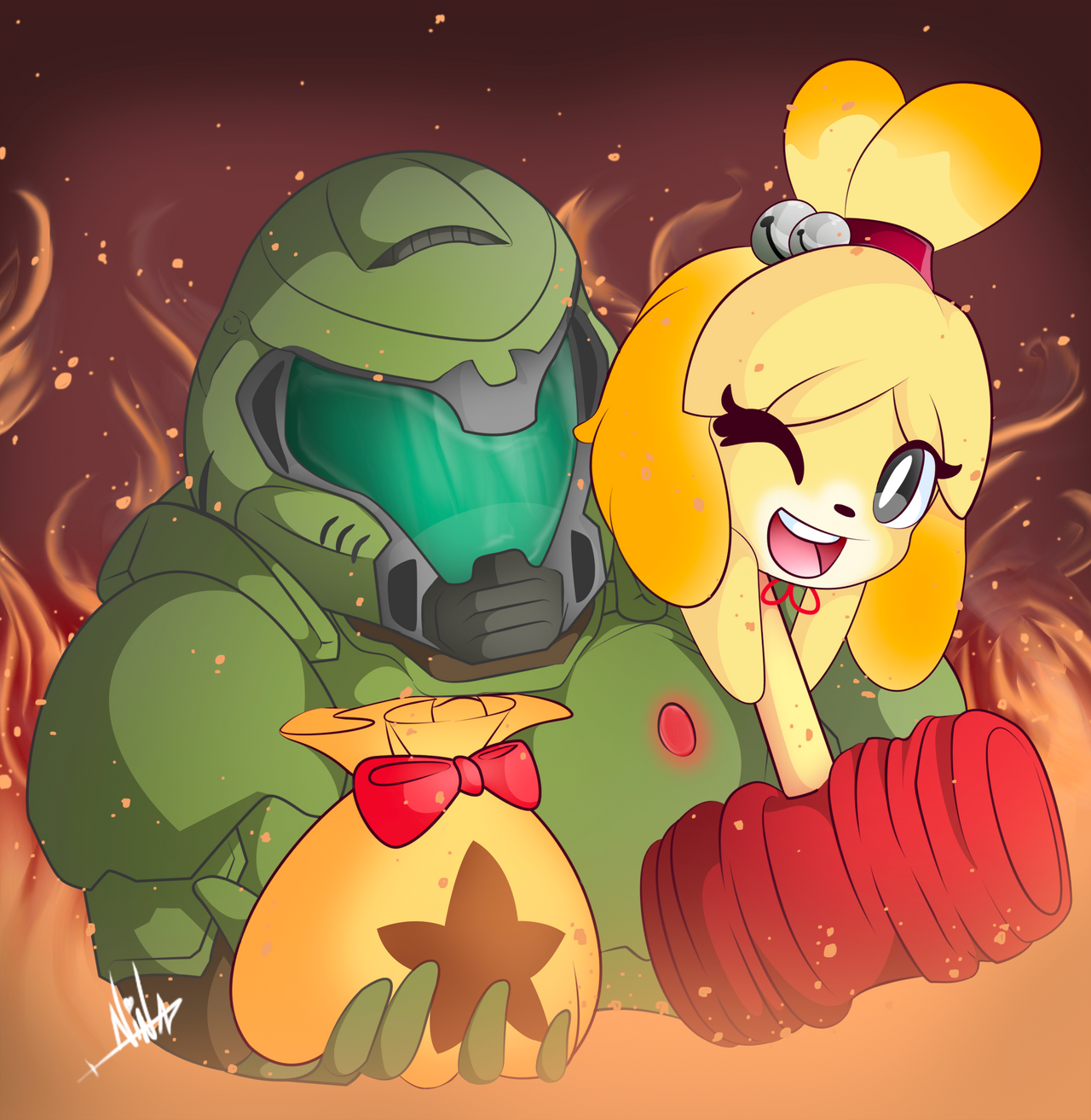 Isabelle And Doomguy By Trysnaus On Deviantart