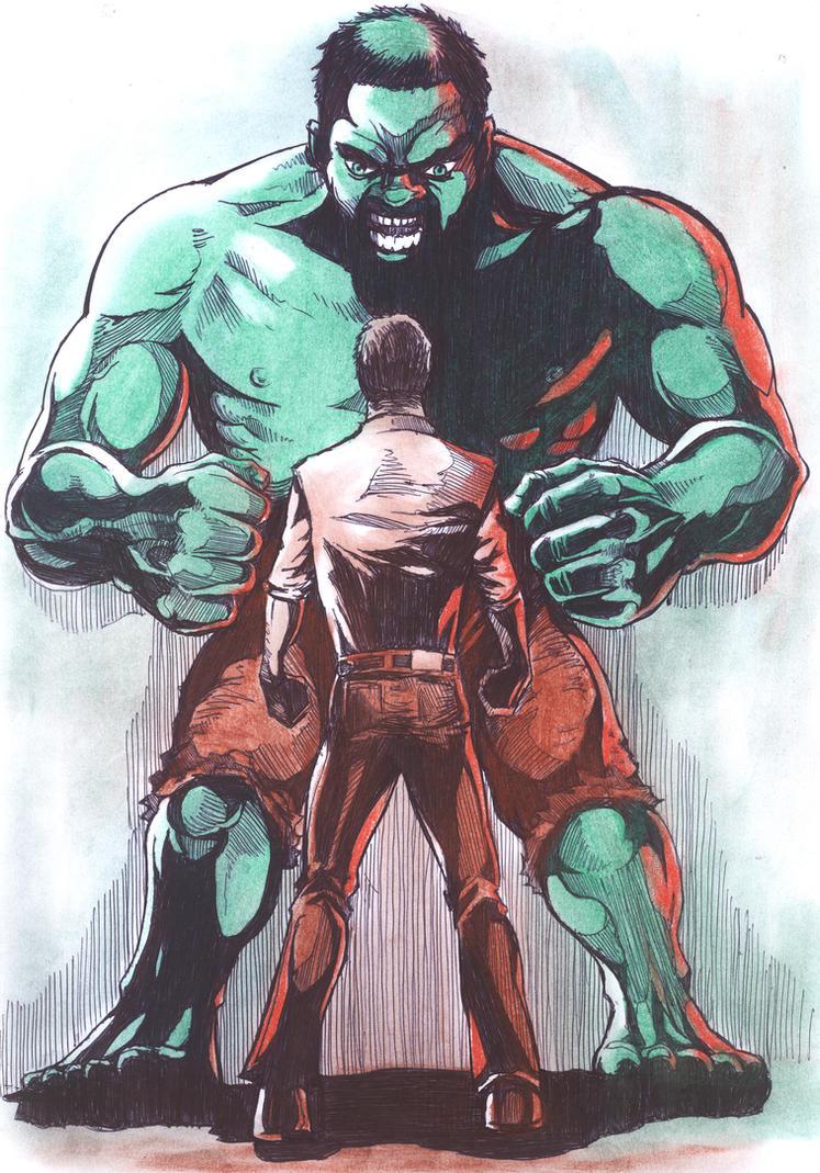 Bruce Banner vs the Hulk by tomhegedus on DeviantArt