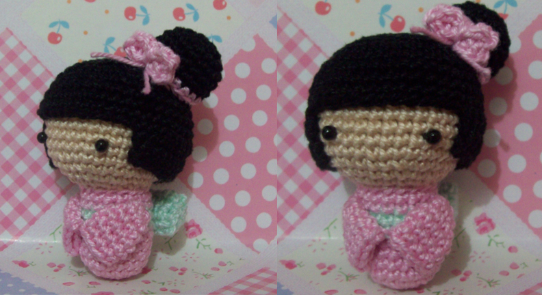 Amigurumi Kokeshi Doll Pattern : Pink amigurumi kokeshi doll by oddspaceball on deviantart