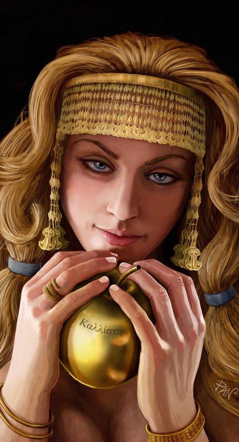 Aphrodite and the golden apple by Panaiotis
