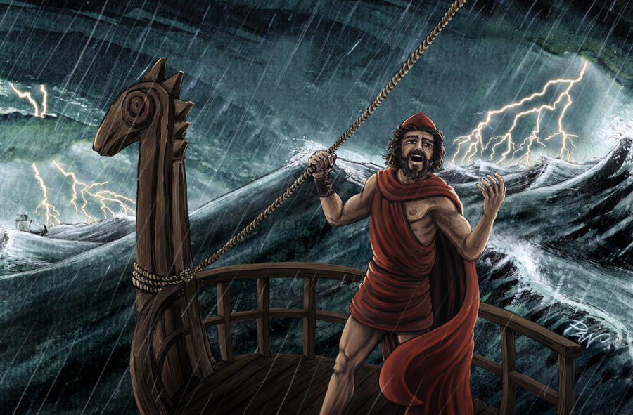 What challenges does Odysseus face in The Odyssey?