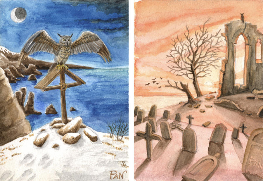 Tribute to Friedrich (watercolor) by Panaiotis