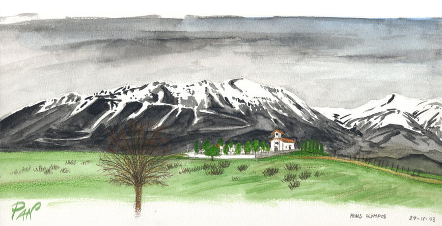 Watercolor - Mount Olympus, Greece by Panaiotis