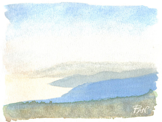 Watercolor - Coastline by Panaiotis