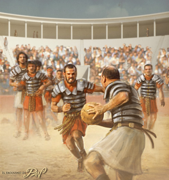 Historical football Roman legionaries by Panaiotis