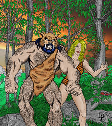 Caveman Wildcat (colorized) by leroysquab