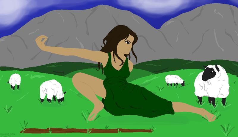 Crouching Shepherdess by jacquelynvansant