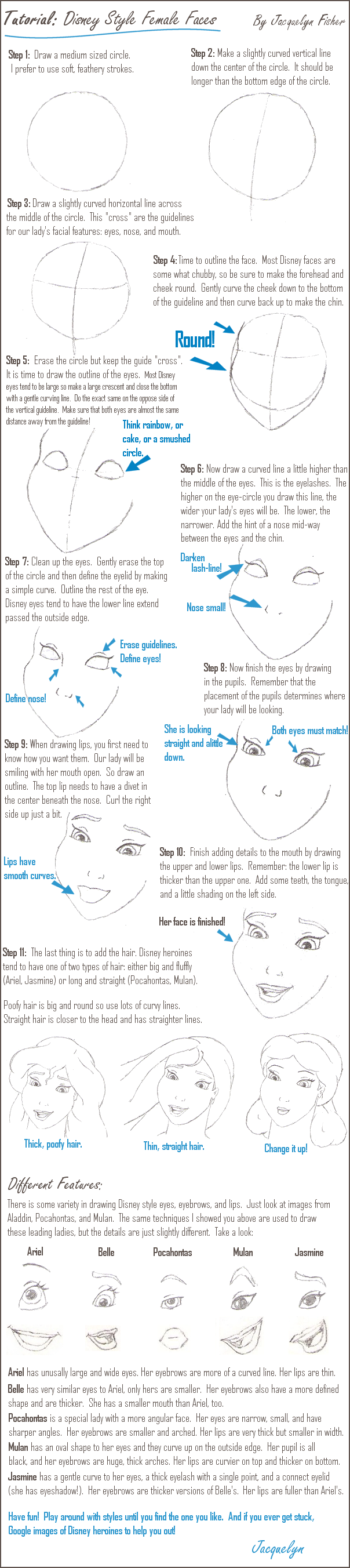 Tutorial: Disney Female Faces by jacquelynfisher on DeviantArt