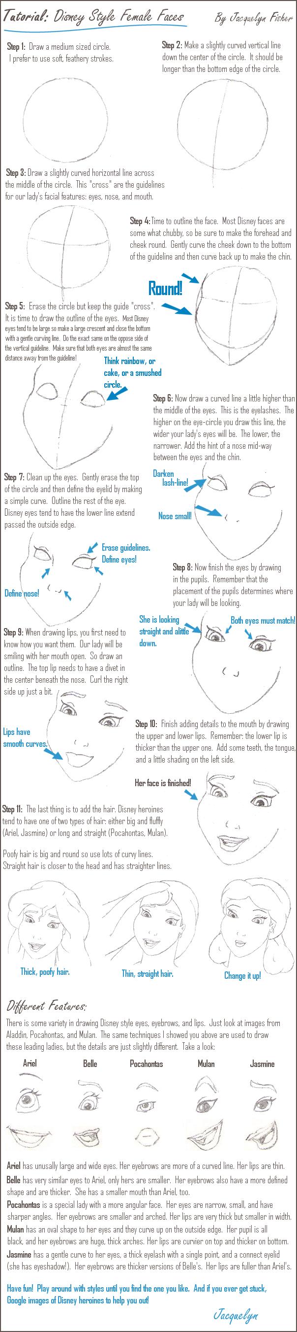 How To Draw Eyes Like Disney By V C Andrews Jacquelynvansant Tutorial:  Disney Female Faces By Jacquelynvansant