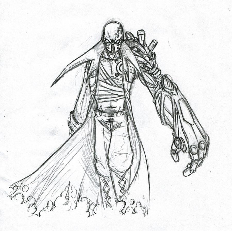 Cyborg Sketch By Phantom62 D337uj0 On Deviantart