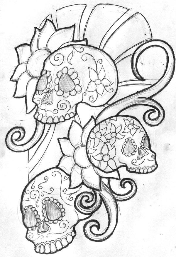 mexican sugar skull sleeve by filly4585 on deviantart. Black Bedroom Furniture Sets. Home Design Ideas