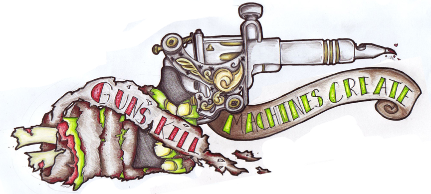 Guns kill machines create by filly4585 on deviantart for Zombie tattoo machine