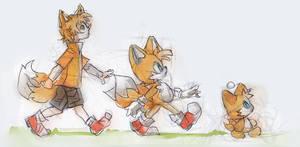 Sonic Fanart - Tailsx3 by papelmarfil